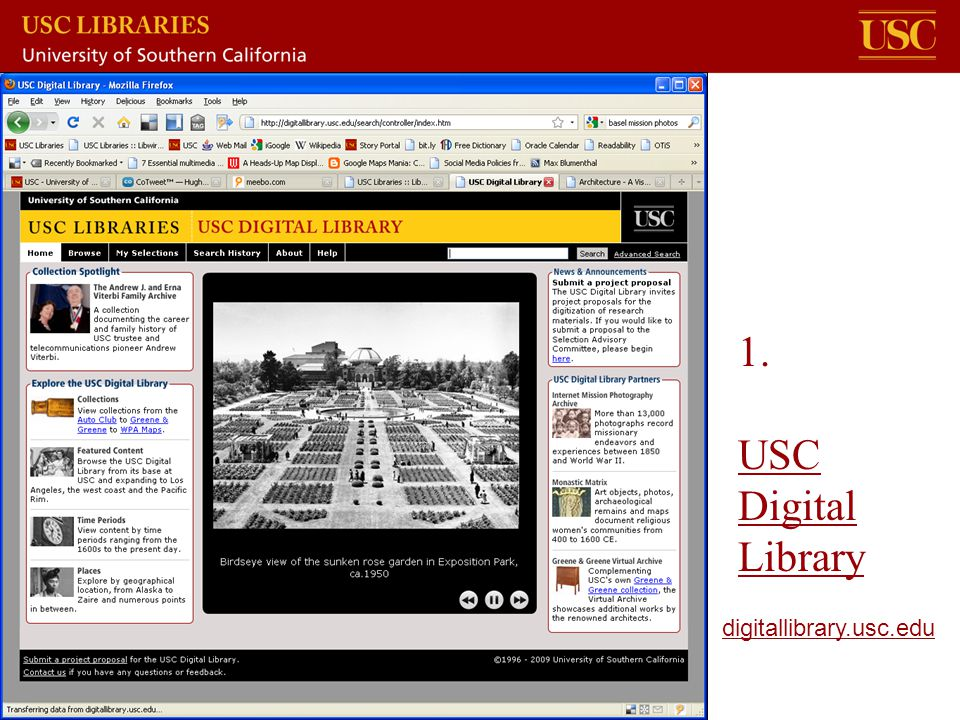 1. USC Digital Library USC Digital Library digitallibrary.usc.edu