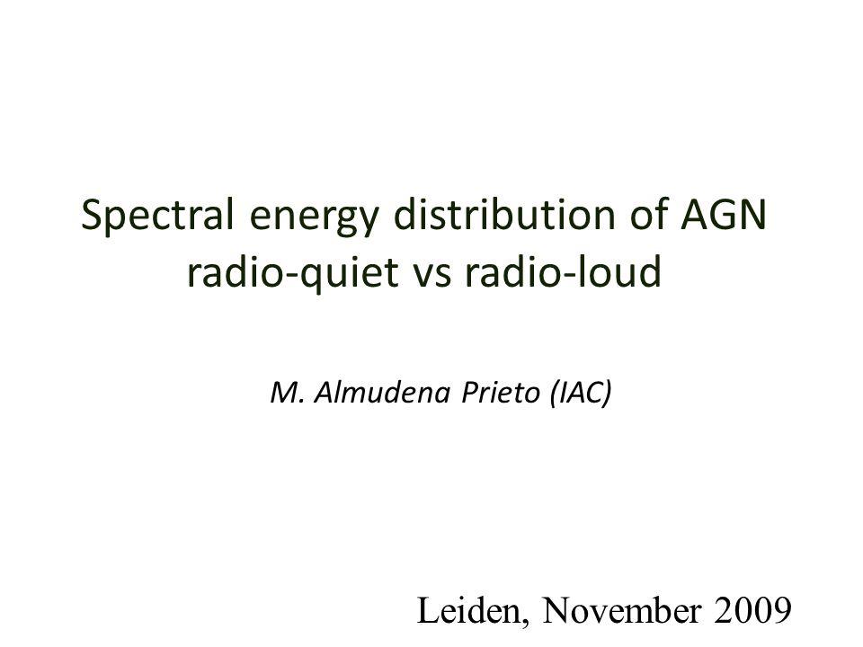 Spectral energy distribution of AGN radio-quiet vs radio-loud M. Almudena Prieto (IAC) Leiden, November 2009