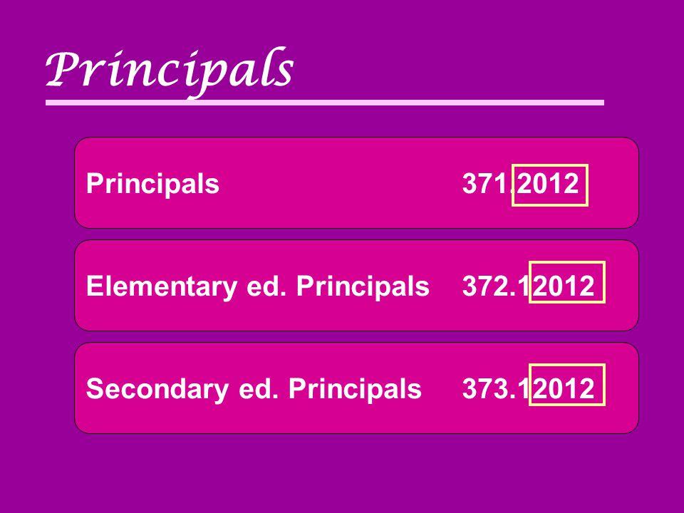 Principals371.2012 Principals Elementary ed. Principals372.12012 Secondary ed. Principals373.12012