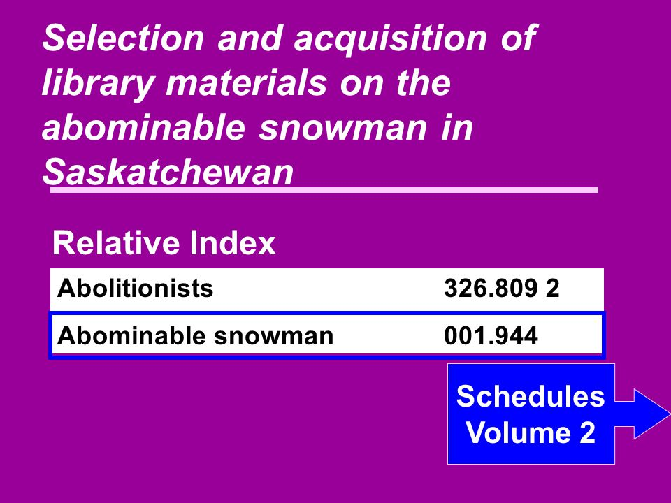 Selection and acquisition of library materials on the abominable snowman in Saskatchewan Abolitionists326.809 2 Abominable snowman001.944 Relative Index Schedules Volume 2