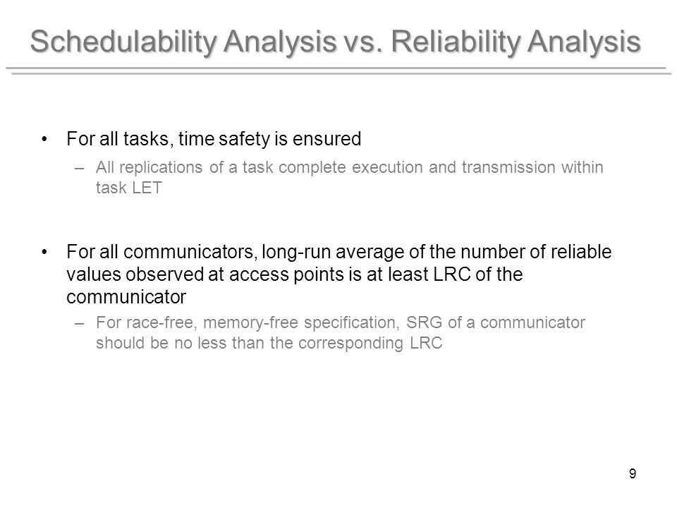 9 Schedulability Analysis vs.