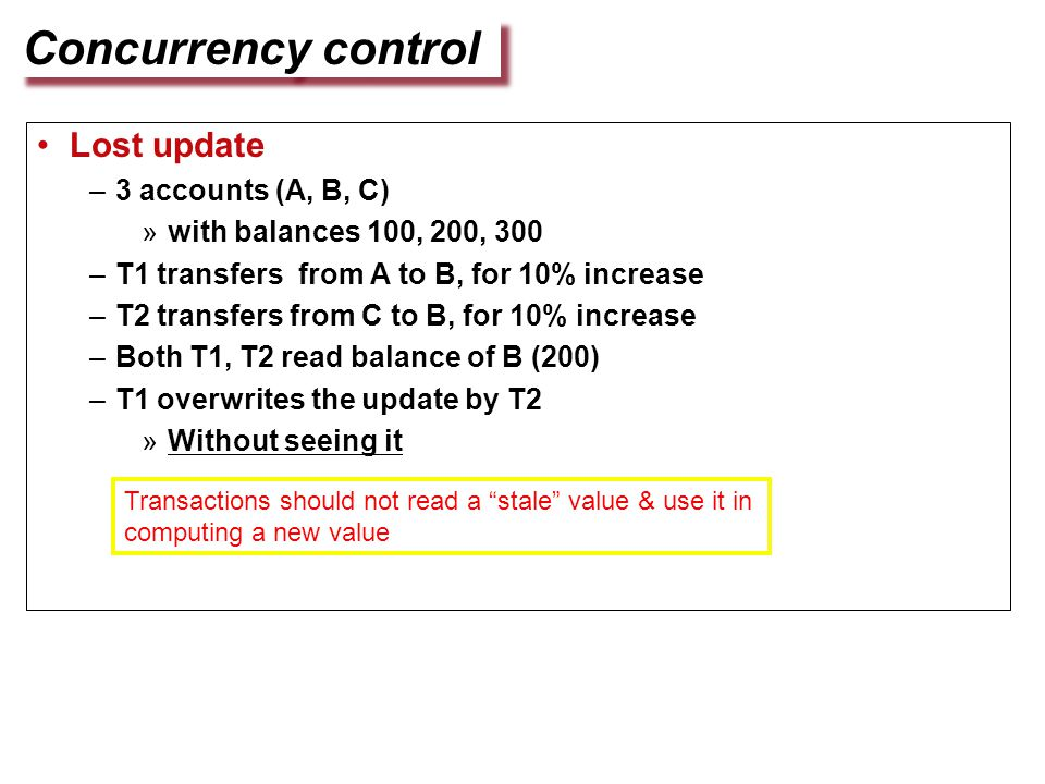 Concurrency control Lost update –3 accounts (A, B, C) »with balances 100, 200, 300 –T1 transfers from A to B, for 10% increase –T2 transfers from C to B, for 10% increase –Both T1, T2 read balance of B (200) –T1 overwrites the update by T2 »Without seeing it Transactions should not read a stale value & use it in computing a new value