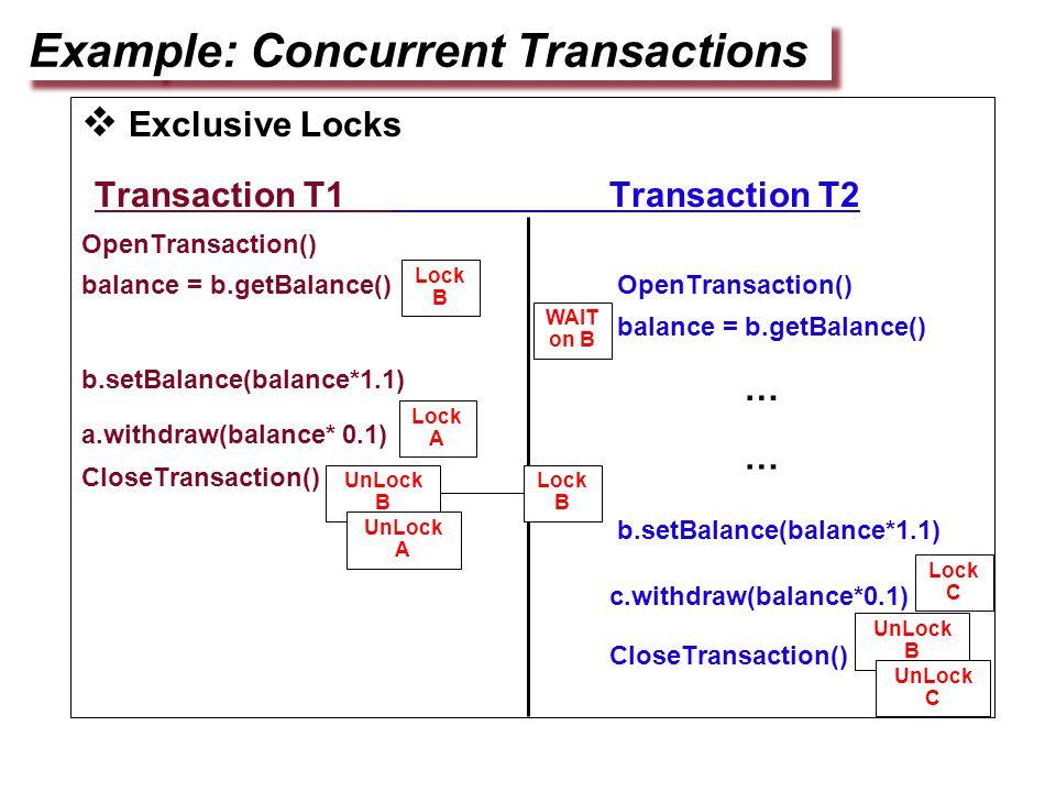  Exclusive Locks Transaction T1 Transaction T2 OpenTransaction() balance = b.getBalance() OpenTransaction() balance = b.getBalance() b.setBalance(balance*1.1) a.withdraw(balance* 0.1) CloseTransaction() b.setBalance(balance*1.1) c.withdraw(balance*0.1) CloseTransaction() Example: Concurrent Transactions Lock B Lock A UnLock B UnLock A Lock C UnLock B UnLock C … WAIT on B Lock B …