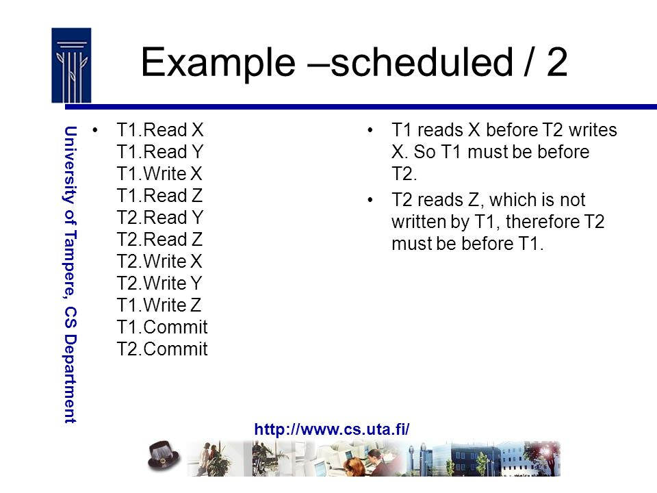 http://www.cs.uta.fi/ University of Tampere, CS Department Example –scheduled / 2 T1.Read X T1.Read Y T1.Write X T1.Read Z T2.Read Y T2.Read Z T2.Write X T2.Write Y T1.Write Z T1.Commit T2.Commit T1 reads X before T2 writes X.