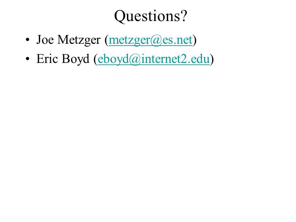 Questions? Joe Metzger (metzger@es.net)metzger@es.net Eric Boyd (eboyd@internet2.edu)eboyd@internet2.edu