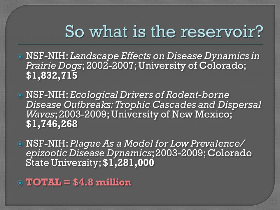  NSF-NIH: Landscape Effects on Disease Dynamics in Prairie Dogs; 2002-2007; University of Colorado; $1,832,715  NSF-NIH: Ecological Drivers of Roden