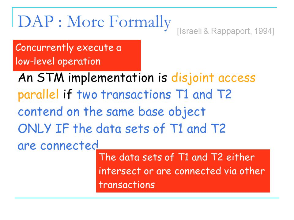 66 Inherent Limitations on TMs 6 DAP : More Formally An STM implementation is disjoint access parallel if two transactions T1 and T2 contend on the sa