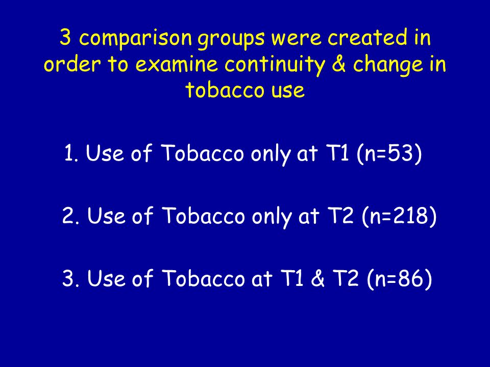 3 comparison groups were created in order to examine continuity & change in tobacco use 1.