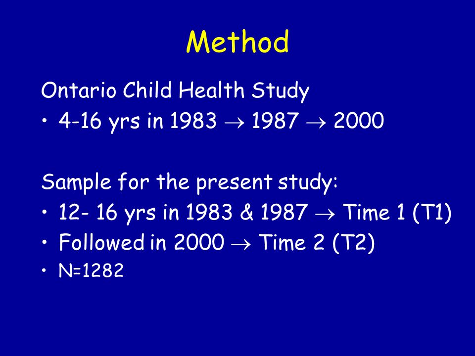Method Ontario Child Health Study 4-16 yrs in 1983  1987  2000 Sample for the present study: 12- 16 yrs in 1983 & 1987  Time 1 (T1) Followed in 2000  Time 2 (T2) N=1282
