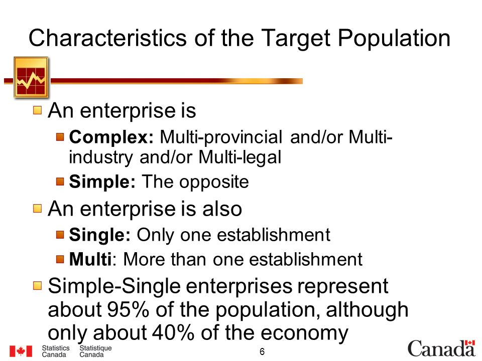 6 Characteristics of the Target Population An enterprise is Complex: Multi-provincial and/or Multi- industry and/or Multi-legal Simple: The opposite An enterprise is also Single: Only one establishment Multi: More than one establishment Simple-Single enterprises represent about 95% of the population, although only about 40% of the economy