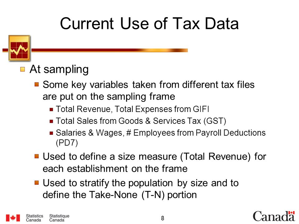 8 Current Use of Tax Data At sampling Some key variables taken from different tax files are put on the sampling frame Total Revenue, Total Expenses from GIFI Total Sales from Goods & Services Tax (GST) Salaries & Wages, # Employees from Payroll Deductions (PD7) Used to define a size measure (Total Revenue) for each establishment on the frame Used to stratify the population by size and to define the Take-None (T-N) portion