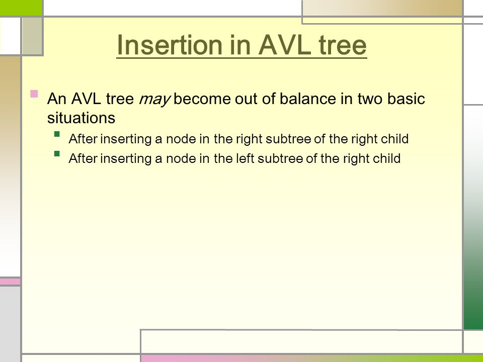 Insertion in AVL tree An AVL tree may become out of balance in two basic situations After inserting a node in the right subtree of the right child After inserting a node in the left subtree of the right child