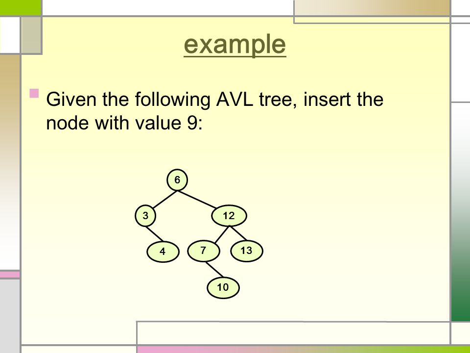 example Given the following AVL tree, insert the node with value 9: