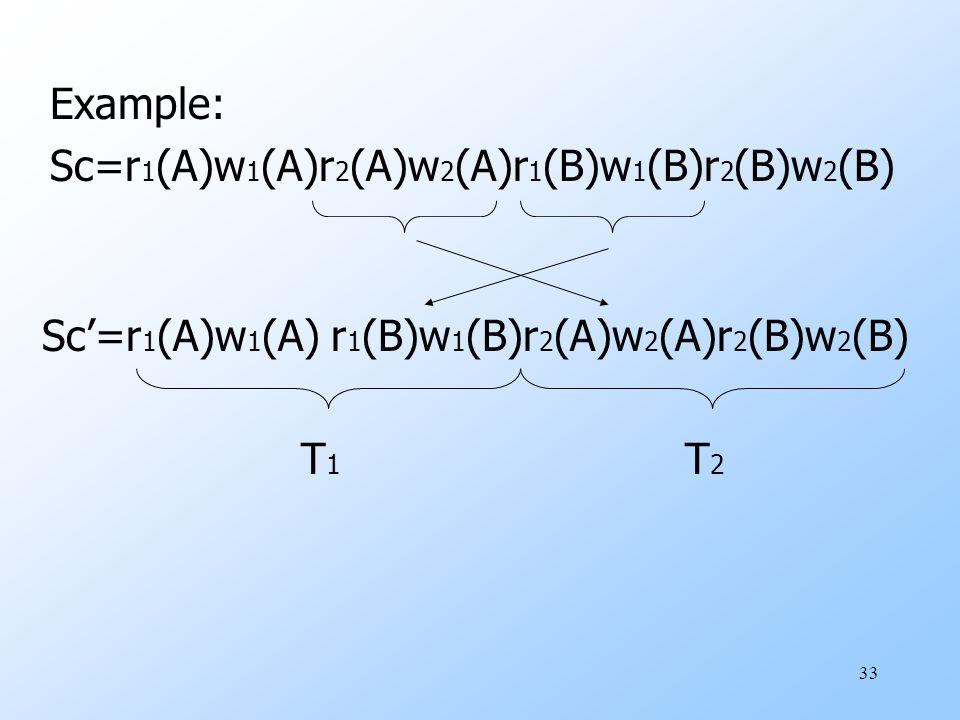 33 Sc'=r 1 (A)w 1 (A) r 1 (B)w 1 (B)r 2 (A)w 2 (A)r 2 (B)w 2 (B) T 1 T 2 Example: Sc=r 1 (A)w 1 (A)r 2 (A)w 2 (A)r 1 (B)w 1 (B)r 2 (B)w 2 (B)