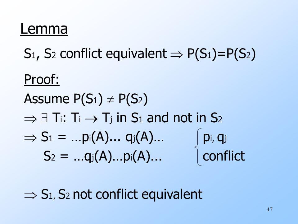 47 Lemma S 1, S 2 conflict equivalent  P(S 1 )=P(S 2 ) Proof: Assume P(S 1 )  P(S 2 )   T i : T i  T j in S 1 and not in S 2  S 1 = …p i (A)...