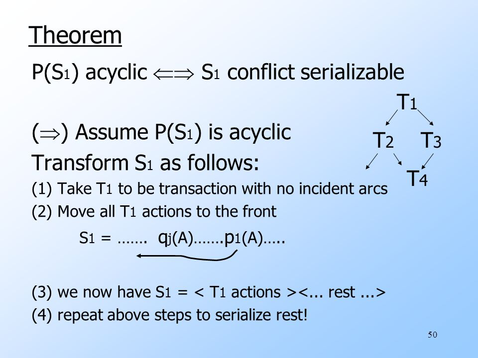 50 (  ) Assume P(S 1 ) is acyclic Transform S 1 as follows: (1) Take T 1 to be transaction with no incident arcs (2) Move all T 1 actions to the fron