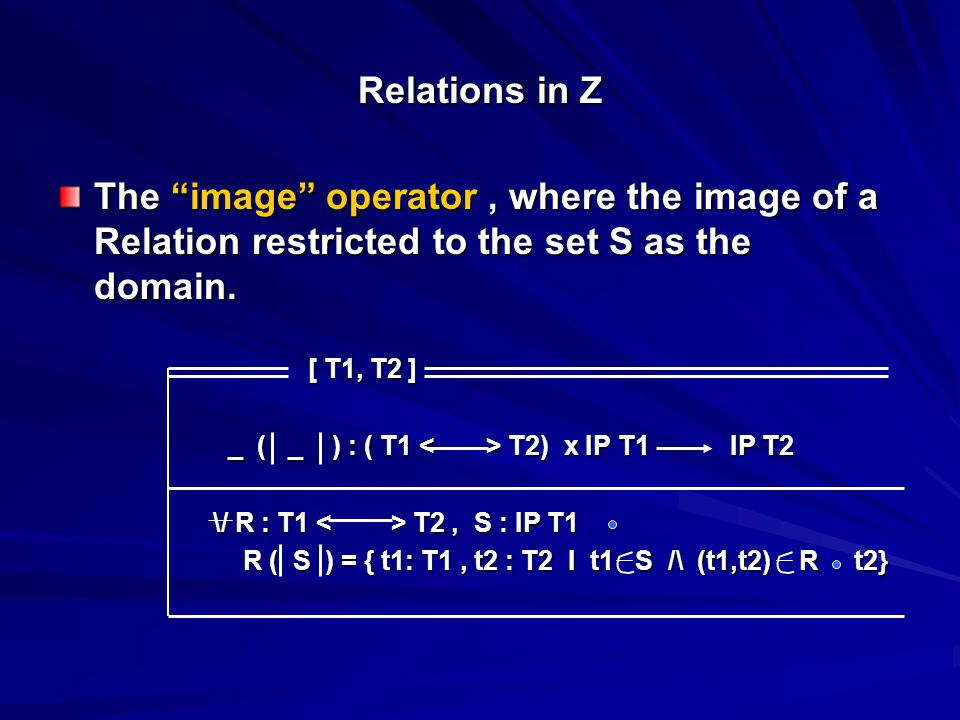 Relations in Z The image operator, where the image of a Relation restricted to the set S as the domain.