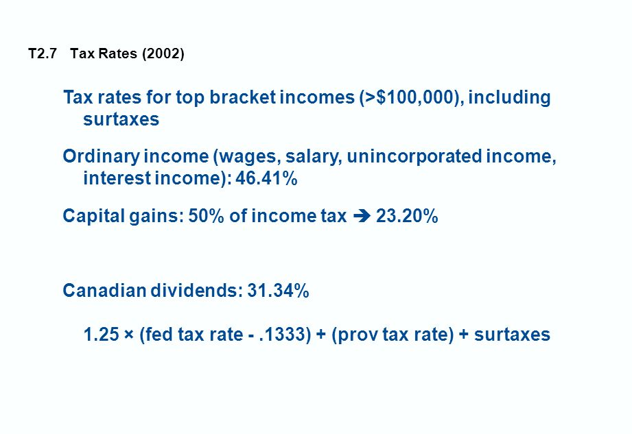 T2.7 Tax Rates (2002) Tax rates for top bracket incomes (>$100,000), including surtaxes Ordinary income (wages, salary, unincorporated income, interest income): 46.41% Capital gains: 50% of income tax  23.20% Canadian dividends: 31.34% 1.25 × (fed tax rate -.1333) + (prov tax rate) + surtaxes