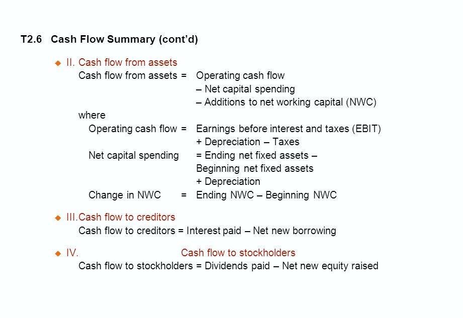 T2.6 Cash Flow Summary (cont'd)  II.Cash flow from assets Cash flow from assets = Operating cash flow – Net capital spending – Additions to net working capital (NWC) where Operating cash flow = Earnings before interest and taxes (EBIT) + Depreciation – Taxes Net capital spending = Ending net fixed assets – Beginning net fixed assets + Depreciation Change in NWC = Ending NWC – Beginning NWC  III.Cash flow to creditors Cash flow to creditors = Interest paid – Net new borrowing  IV.Cash flow to stockholders Cash flow to stockholders = Dividends paid – Net new equity raised