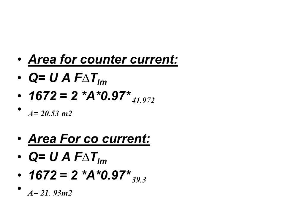 Area for counter current: Q= U A F∆T lm 1672 = 2 *A*0.97* 41.972 A= 20.53 m2 Area For co current: Q= U A F∆T lm 1672 = 2 *A*0.97* 39.3 A= 21.