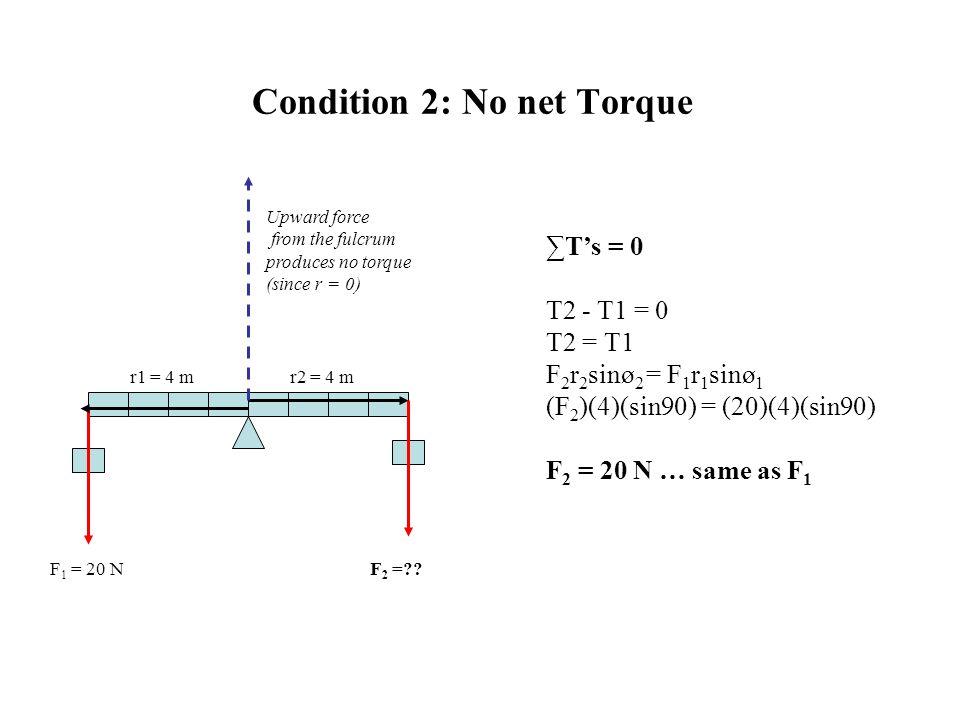Condition 2: No net Torque F 1 = 20 N r1 = 4 mr2 = 4 m F 2 =?? ∑T's = 0 T2 - T1 = 0 T2 = T1 F 2 r 2 sinø 2 = F 1 r 1 sinø 1 (F 2 )(4)(sin90) = (20)(4)