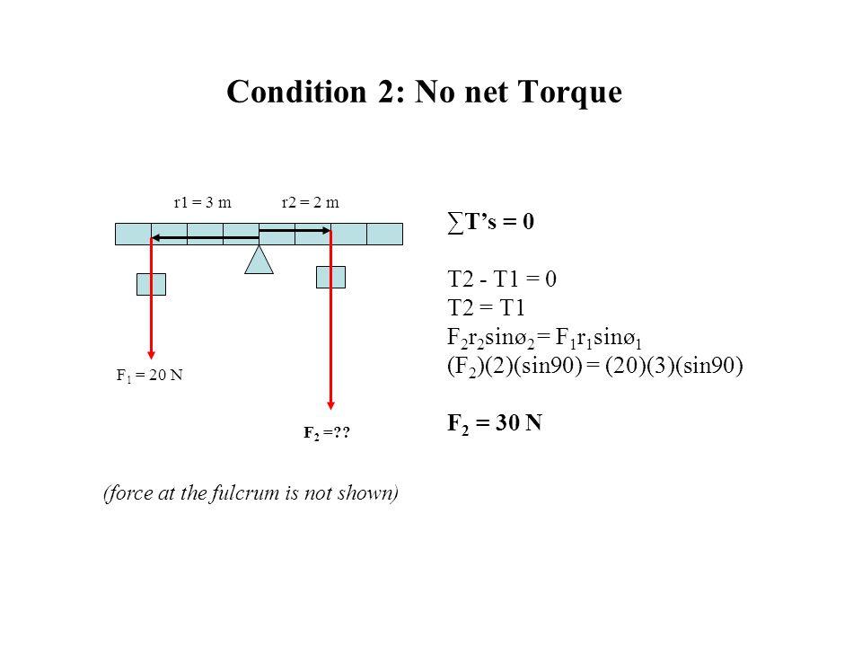 Condition 2: No net Torque F 2 =?? F 1 = 20 N r1 = 3 mr2 = 2 m ∑T's = 0 T2 - T1 = 0 T2 = T1 F 2 r 2 sinø 2 = F 1 r 1 sinø 1 (F 2 )(2)(sin90) = (20)(3)