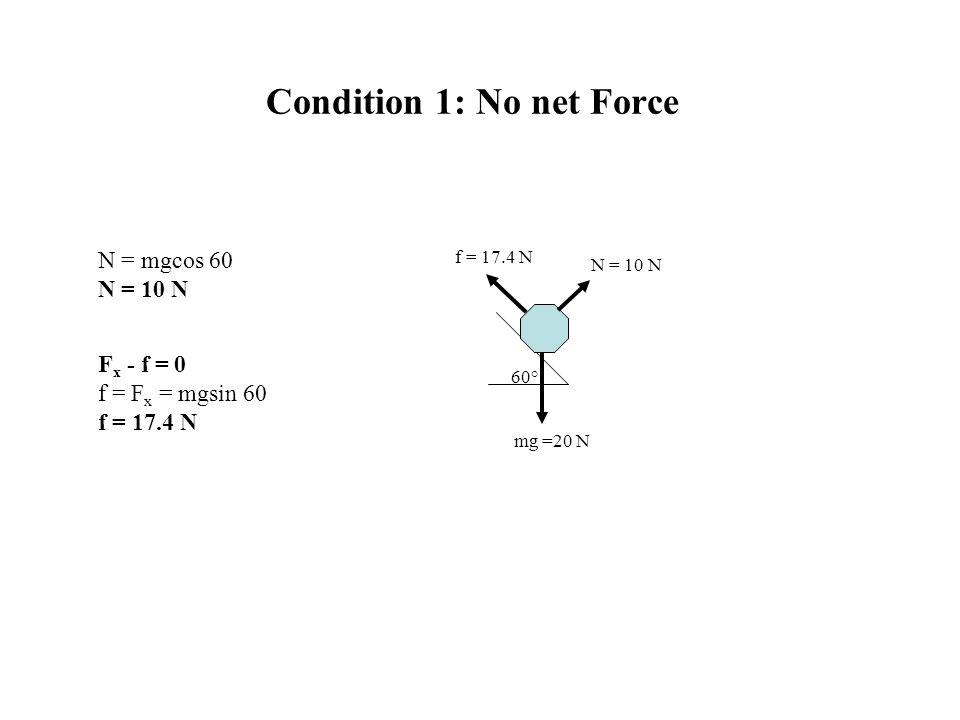 Condition 1: No net Force 60° mg =20 N f = 17.4 N N = 10 N F x - f = 0 f = F x = mgsin 60 f = 17.4 N N = mgcos 60 N = 10 N