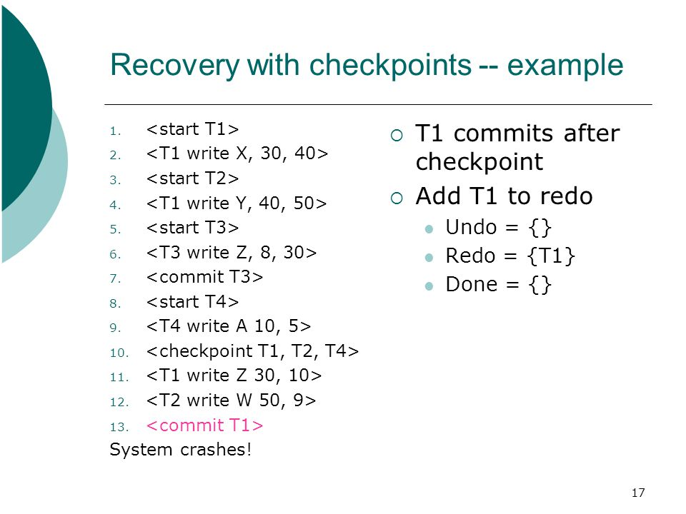 17 Recovery with checkpoints -- example 1. 2. 3.