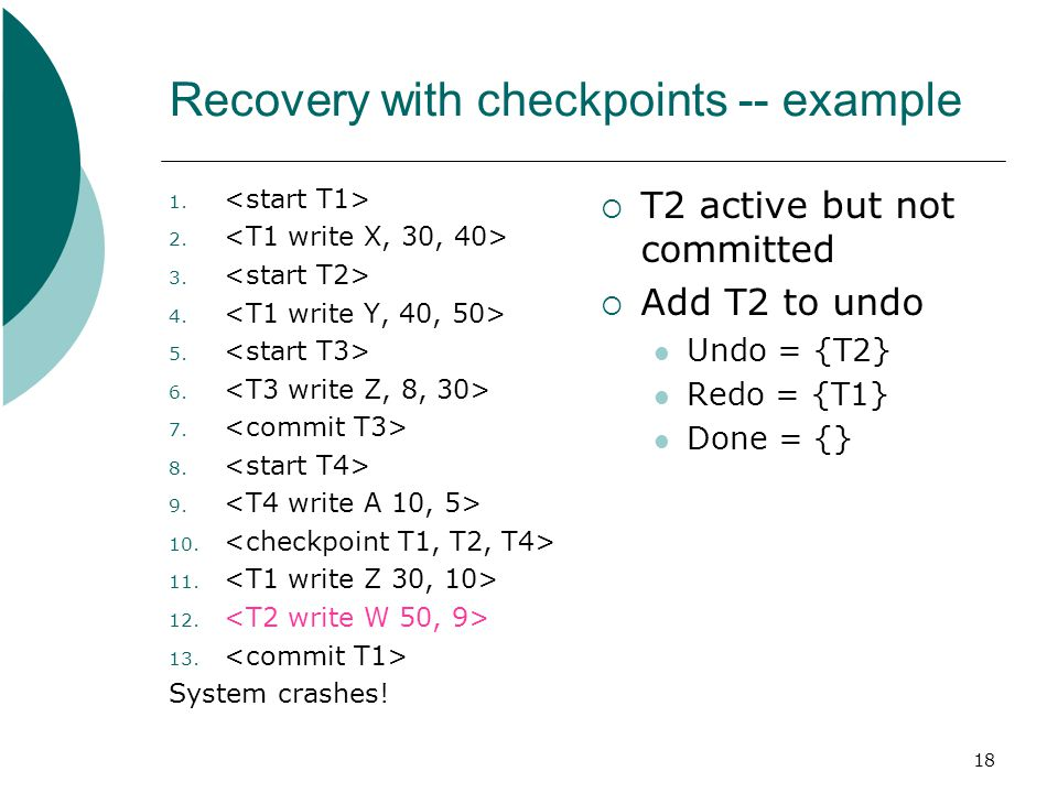 18 Recovery with checkpoints -- example 1. 2. 3.