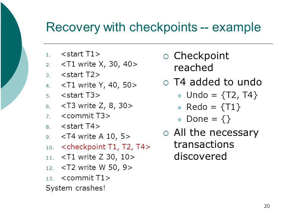 20 Recovery with checkpoints -- example 1. 2. 3.