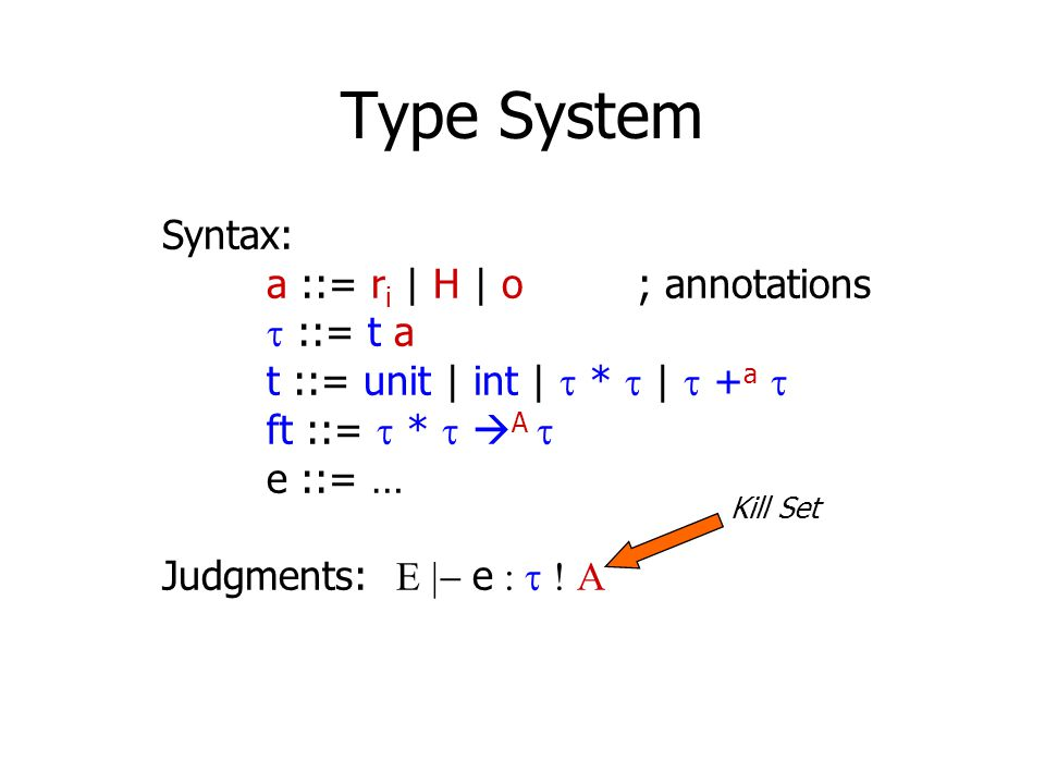 Type System Syntax: a ::= r i | H | o ; annotations  ::= t a t ::= unit | int |  *  |  + a  ft ::=  *   A  e ::= … Judgments:  e 