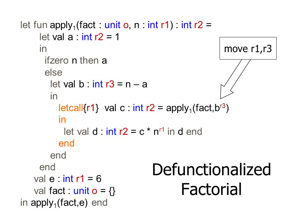 let fun apply 1 (fact : unit o, n : int r1) : int r2 = let val a : int r2 = 1 in ifzero n then a else let val b : int r3 = n – a in letcall{r1} val c