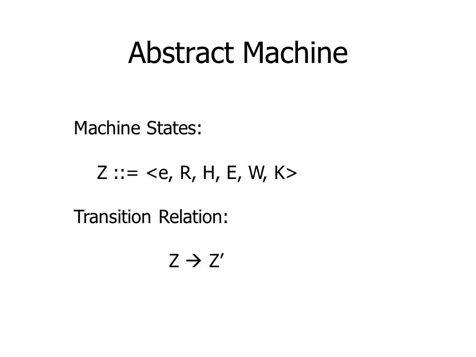 Abstract Machine Machine States: Z ::= Transition Relation: Z  Z'