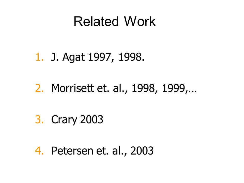 Related Work 1.J. Agat 1997, 1998. 2.Morrisett et. al., 1998, 1999,… 3.Crary 2003 4.Petersen et. al., 2003