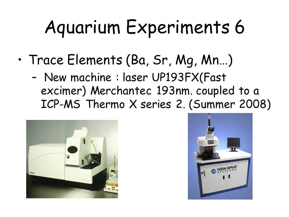 Aquarium Experiments 6 Trace Elements (Ba, Sr, Mg, Mn…) – New machine : laser UP193FX(Fast excimer) Merchantec 193nm.