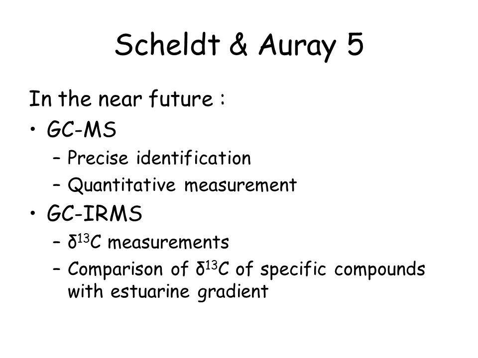 Scheldt & Auray 5 In the near future : GC-MS –Precise identification –Quantitative measurement GC-IRMS –δ 13 C measurements –Comparison of δ 13 C of specific compounds with estuarine gradient