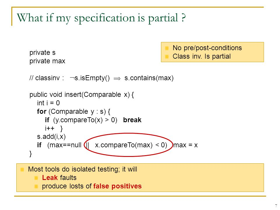 7 What if my specification is partial .