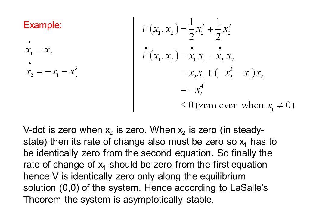 Example: V-dot is zero when x 2 is zero.