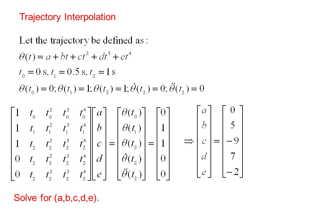 Trajectory Interpolation Solve for (a,b,c,d,e).