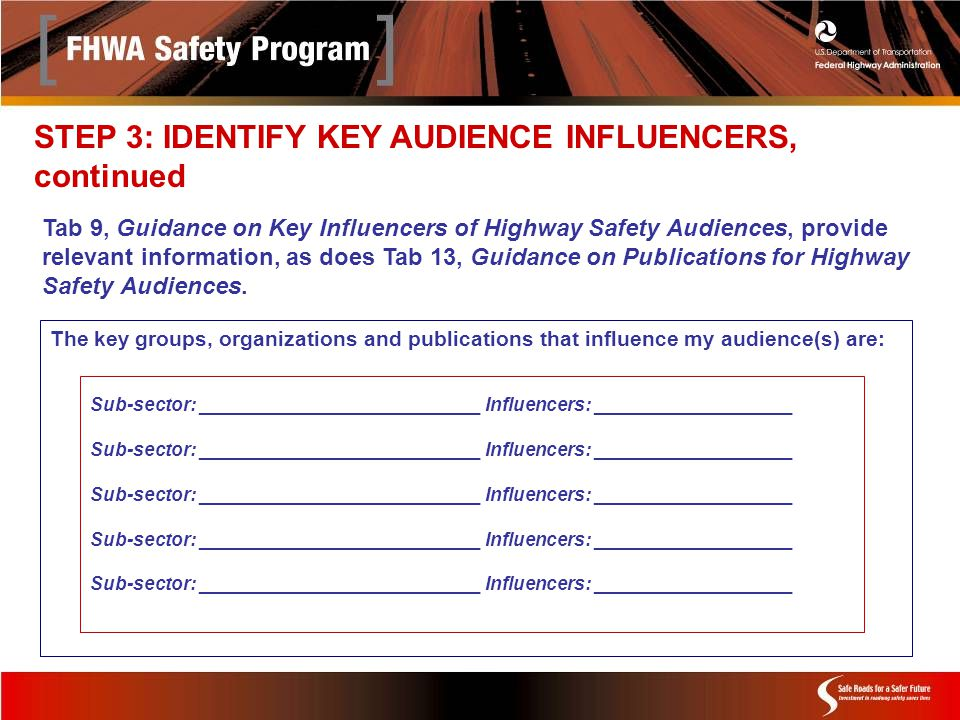Sub-sector: ___________________________ Influencers: ___________________ The key groups, organizations and publications that influence my audience(s) are: Tab 9, Guidance on Key Influencers of Highway Safety Audiences, provide relevant information, as does Tab 13, Guidance on Publications for Highway Safety Audiences.