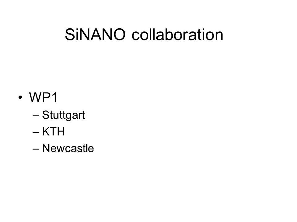 SiNANO collaboration WP1 –Stuttgart –KTH –Newcastle