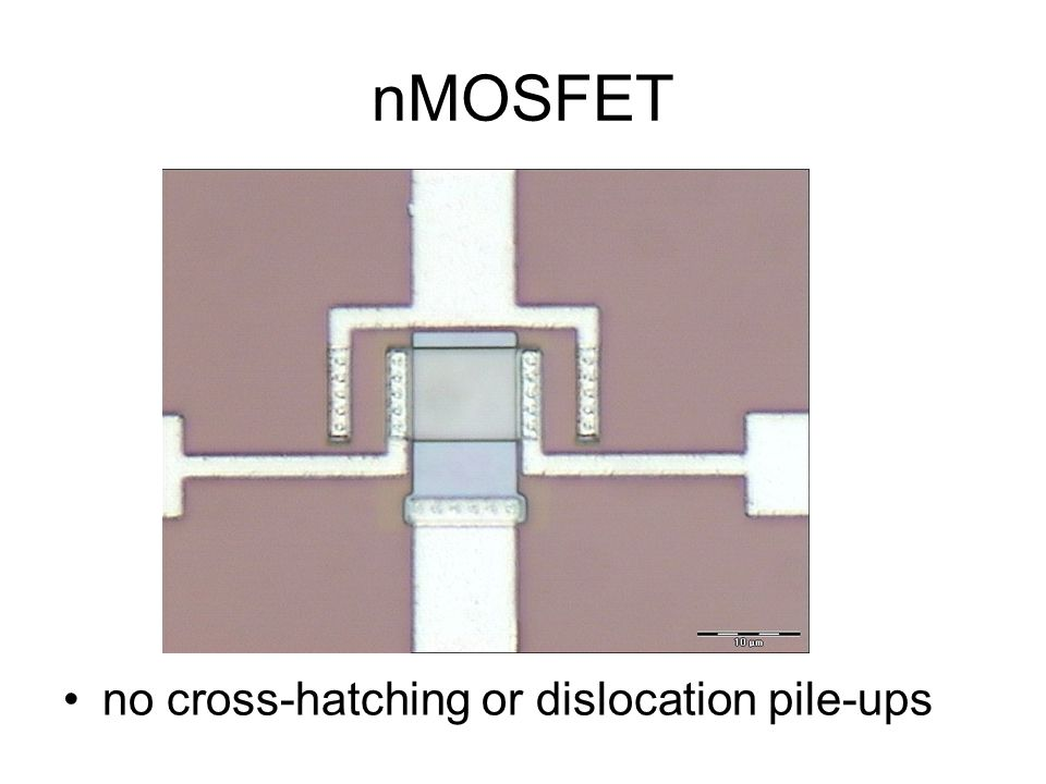 nMOSFET no cross-hatching or dislocation pile-ups
