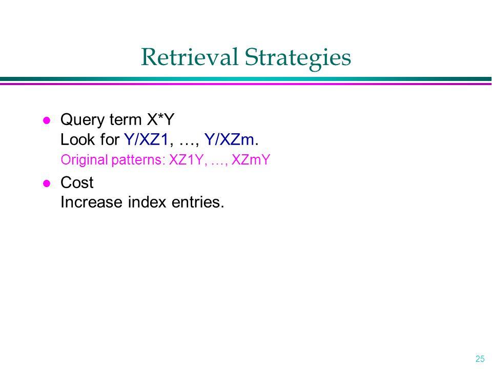 25 Retrieval Strategies l Query term X*Y Look for Y/XZ1, …, Y/XZm.