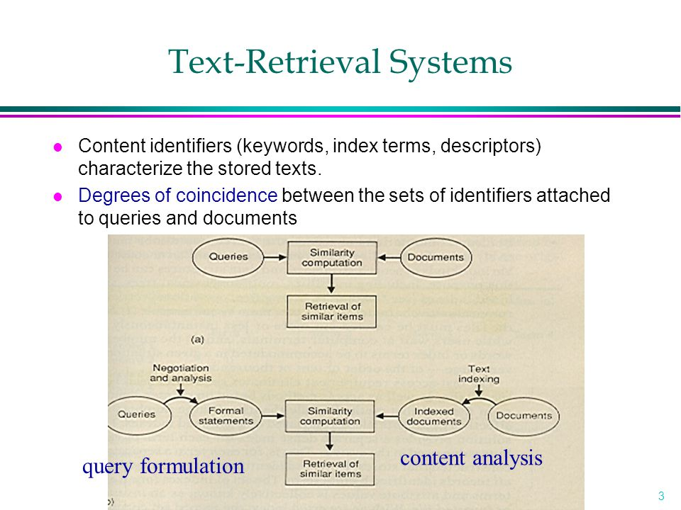 3 Text-Retrieval Systems l Content identifiers (keywords, index terms, descriptors) characterize the stored texts. l Degrees of coincidence between th
