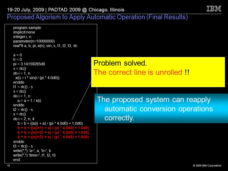 © 2009 IBM Corporation 19-20 July, 2009 | PADTAD 2009 @ Chicago, Illinois 19 Proposed Algorism to Apply Automatic Operation (Final Results) program sample implicit none integer i, n parameter(n=10000000) real*8 a, b, pi, x(n), sin, s, t1, t2, t3, rtc a = 0 b = 0 pi = 3.14159265d0 s = rtc() do i = 1, n x(i) = i * sin(i / (pi * 4.0d0)) enddo t1 = rtc() - s s = rtc() do i = 1, n a = a + 1 / x(i) enddo t2 = rtc() - s s = rtc() do i = 2, n, 4 b = b + ((x(i) + a) / (pi * 4.0d0) + 1.0d0) b = b + ((x(i+1) + a) / (pi * 4.0d0) + 1.0d0) b = b + ((x(i+2) + a) / (pi * 4.0d0) + 1.0d0) b = b + ((x(i+3) + a) / (pi * 4.0d0) + 1.0d0) enddo t3 = rtc() - s write(*,*) a= , a, b= , b write(*,*) time= , t1, t2, t3 end Problem solved.