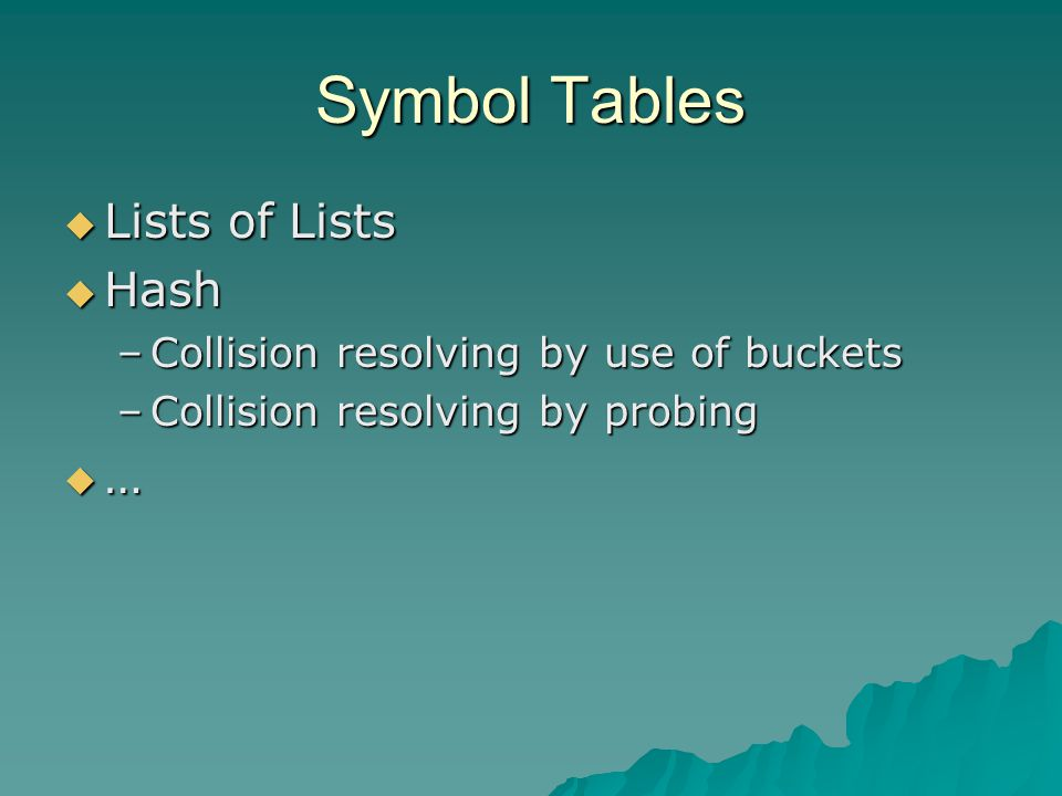Symbol Tables  Lists of Lists  Hash –Collision resolving by use of buckets –Collision resolving by probing  …