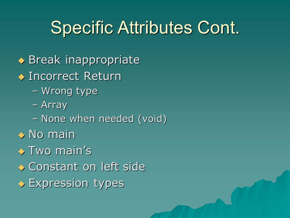 Specific Attributes Cont.