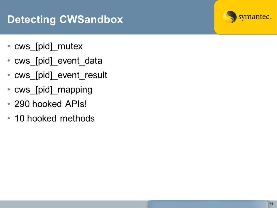31 Detecting CWSandbox cws_[pid]_mutex cws_[pid]_event_data cws_[pid]_event_result cws_[pid]_mapping 290 hooked APIs.