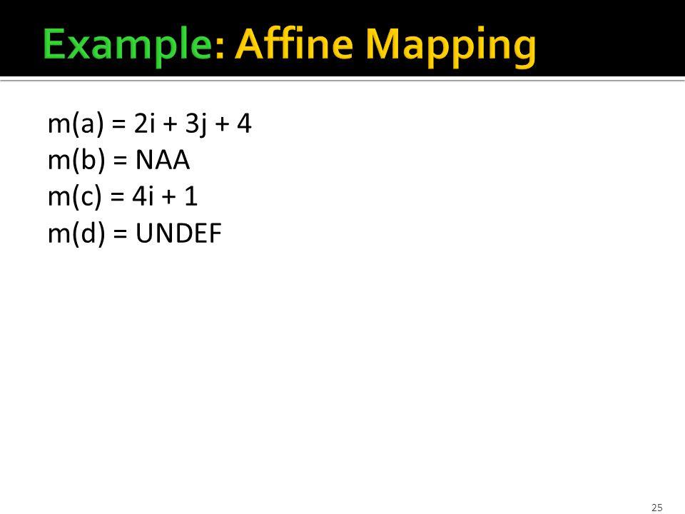 25 m(a) = 2i + 3j + 4 m(b) = NAA m(c) = 4i + 1 m(d) = UNDEF