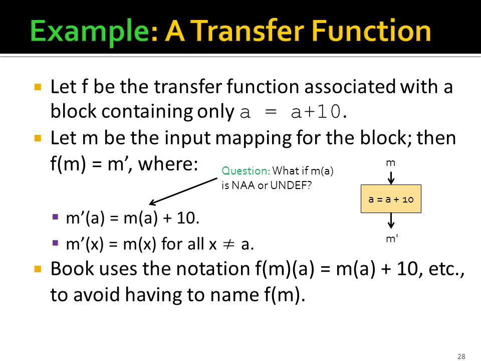 28  Let f be the transfer function associated with a block containing only a = a+10.